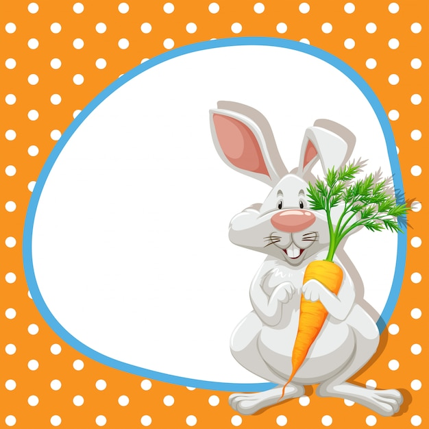Frame  with cute rabbit and carrot Free Vector