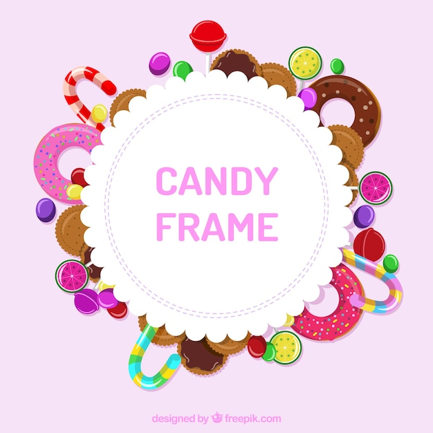 Frame with delicious candies Free Vector