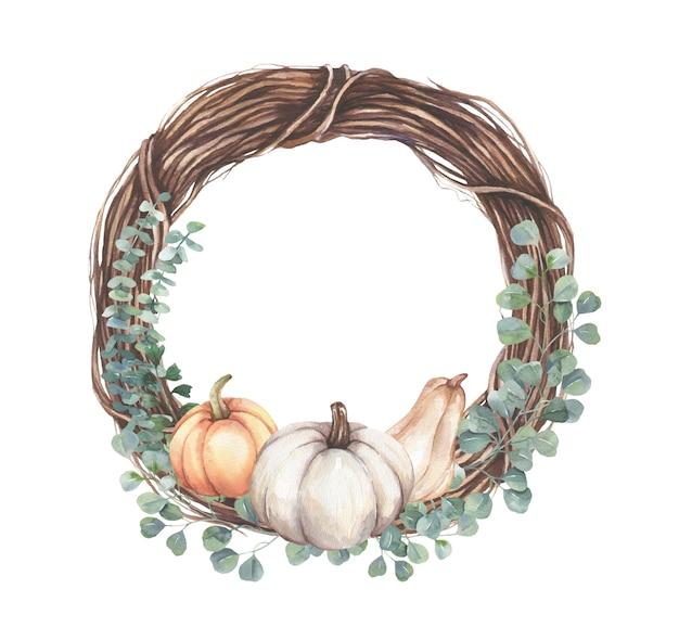 Frame with eucalyptus leaf branches, pumpkins. Premium Vector