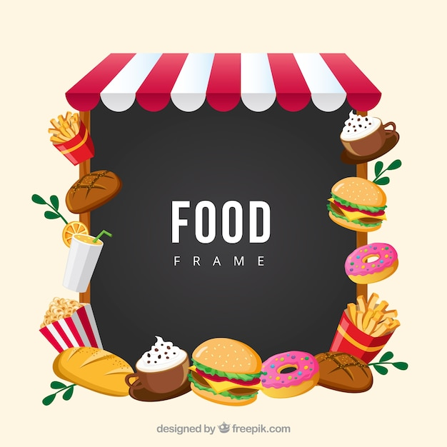 Frame with fast food Free Vector