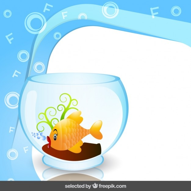 Frame with fish in fishbowl Vector | Free Download