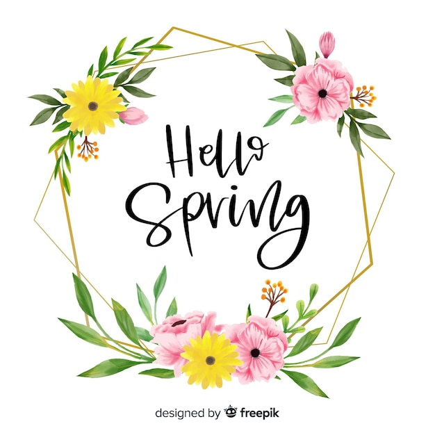 Frame with floral design and hello spring greetings Free Vector