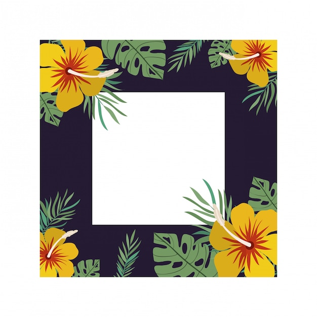 Frame with flower and leaves Free Vector