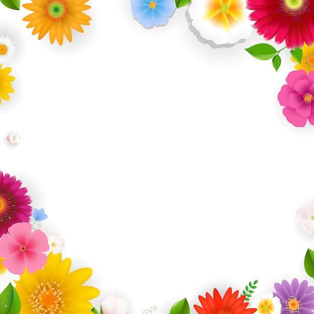 花のあるフレーム Premiumベクター