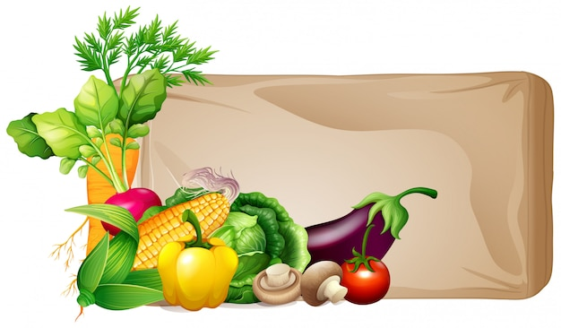 Frame with fresh vegetables Free Vector