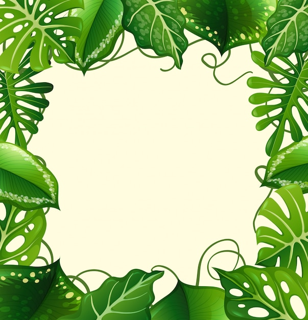 Frame  with green leaves Free Vector
