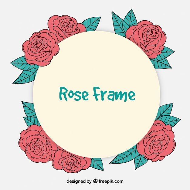 Frame with hand drawn roses
