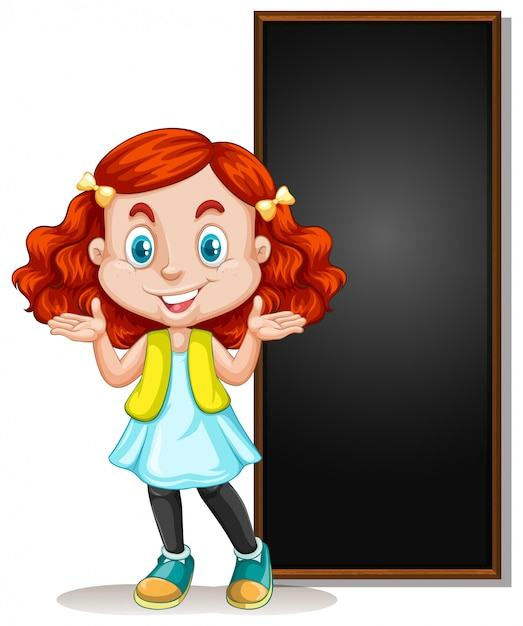 Frame  with happy kid and blackboard Premium Vector