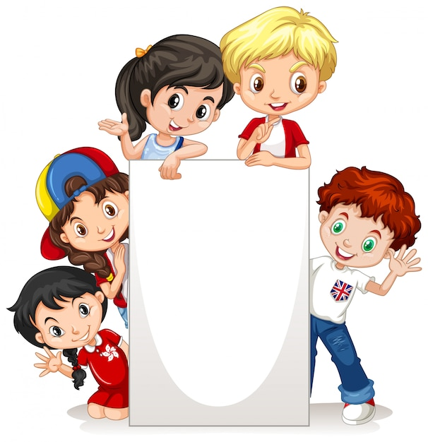 Frame  with happy kids on paper Free Vector