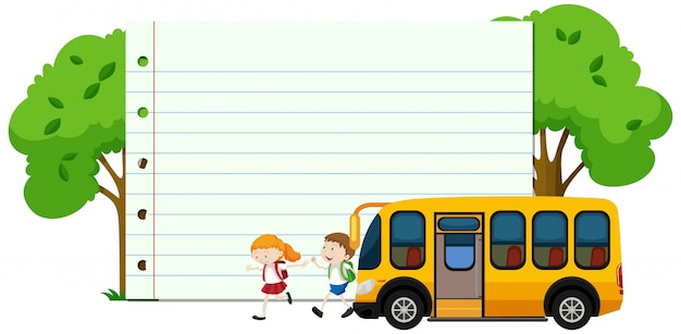 Frame  with happy kids and school bus Free Vector