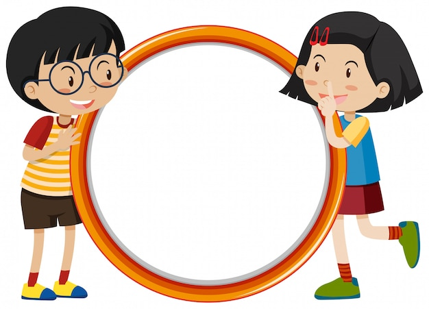 Frame  with happy kids Free Vector