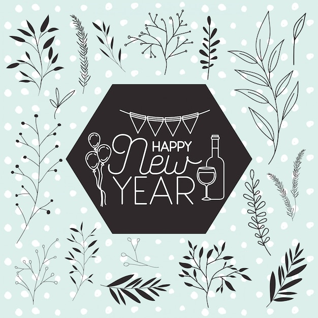 Frame with happy new year lettering and wreath crown Premium Vector