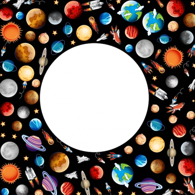 Frame with planets in space Free Vector
