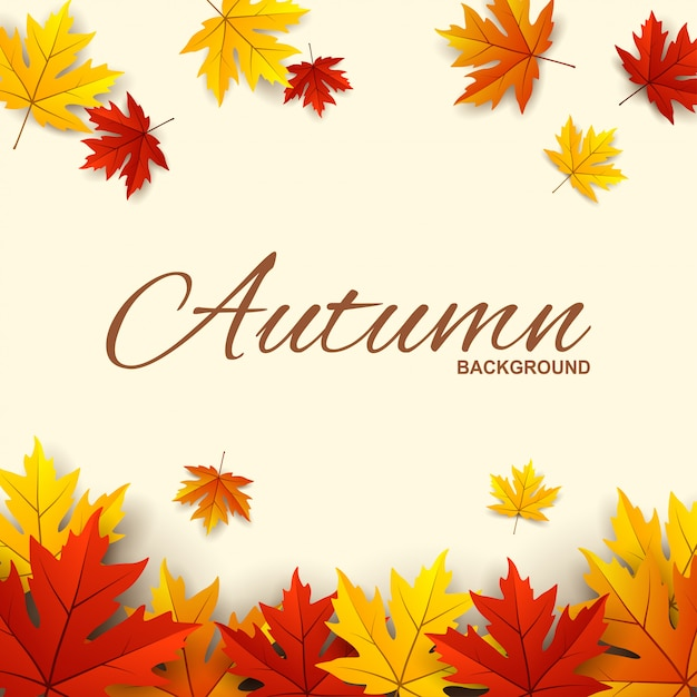 Frame with red, orange and yellow autumn leaves Premium Vector