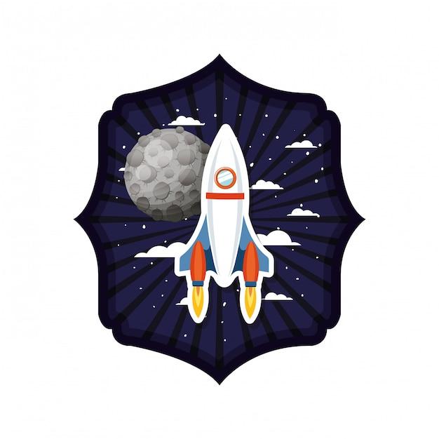 Рама с ракетой и планетами солнечной системы Premium векторы