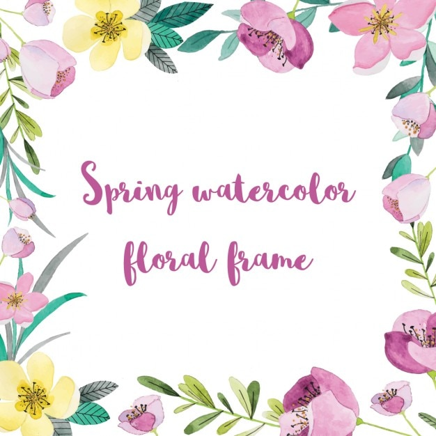 Frame with spring watercolor flowers Vector | Free Download