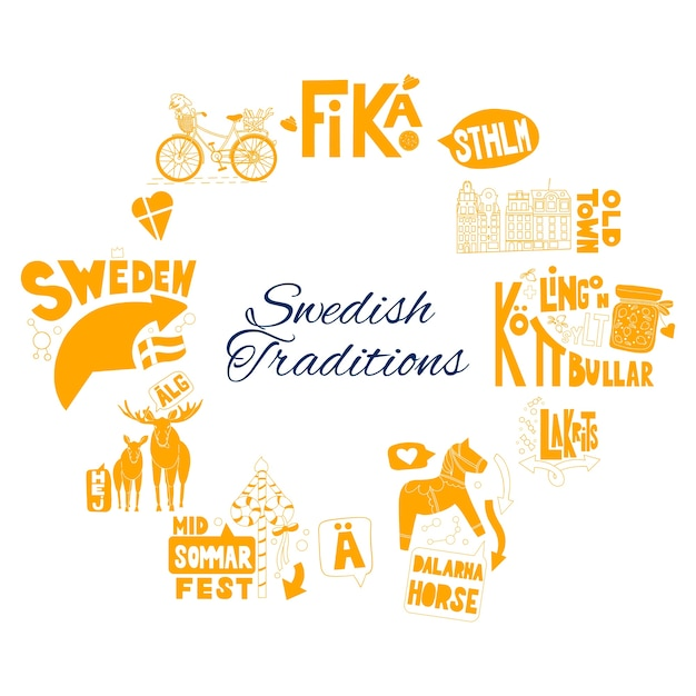 Frame with stockholm yellow doodle elements Premium Vector