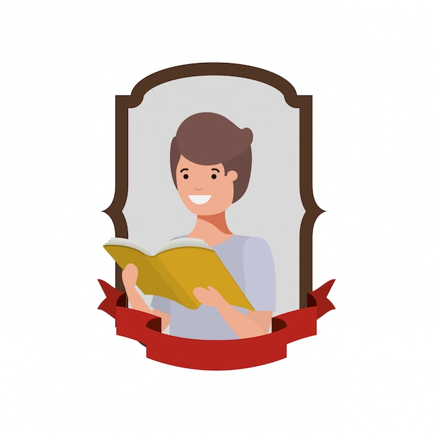 Frame with student boy and reading book Free Vector