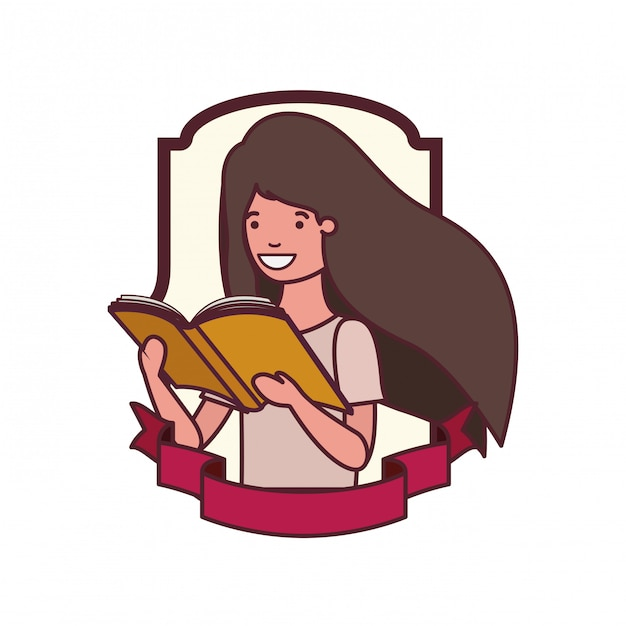 Frame with student girl and reading book Free Vector