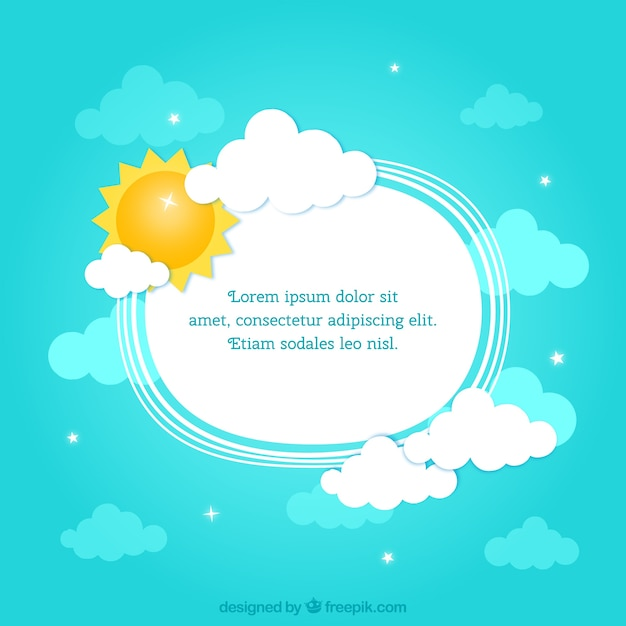 frame with the sun and clouds free vector