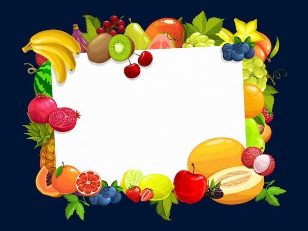 Рамка с тропическими фруктами мультяшный бордюр Premium векторы