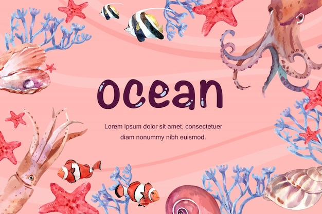 Frame with various animal under the sea, creative warm-toned color illustration template. Free Vector