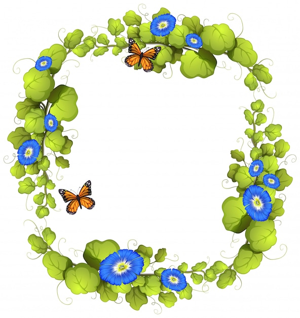 Frame  with vine and butterflies Free Vector