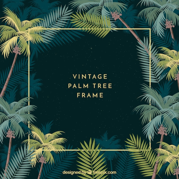 Frame with vintage palm leaves Free Vector