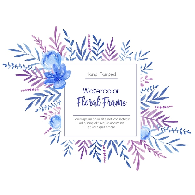 Frame with watercolor flowers and leaves Premium Vector