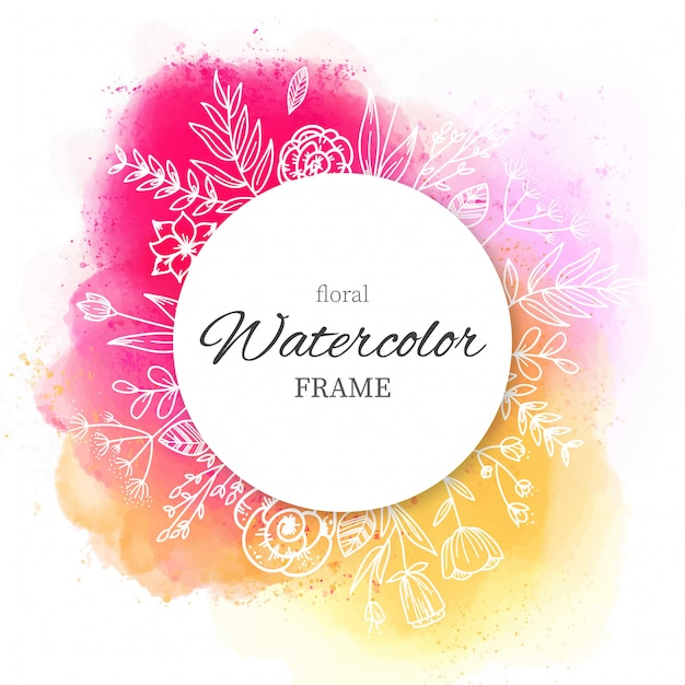 Frame with Watercolor splatters and Hand Drawn Flowers Free Vector