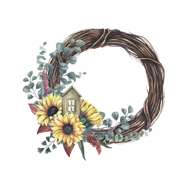 Frame - with yellow sunflower bouquet. Premium Vector