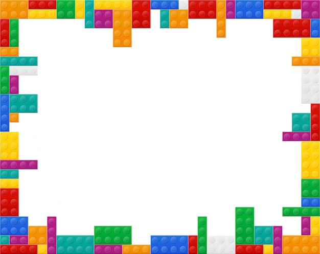Framed background a plan view of the colored plastic constructor vector illustration Premium Vector