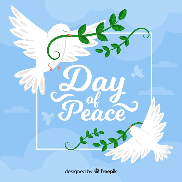 Framed day of peace quote with doves Free Vector