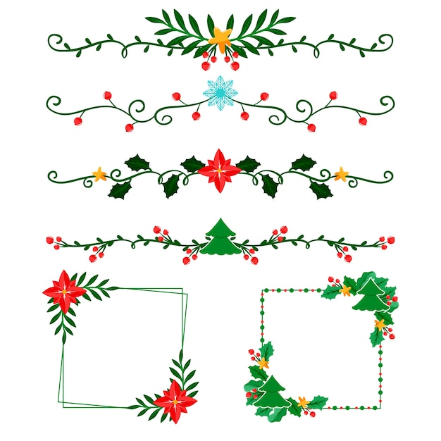 Frames and borders for christmas in flat design Free Vector