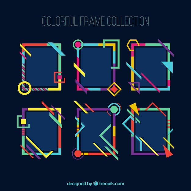 Frames collection in colorful style Free Vector
