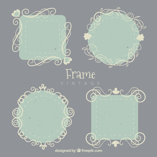 Frames Collection In Vintage Style Vector Free Download
