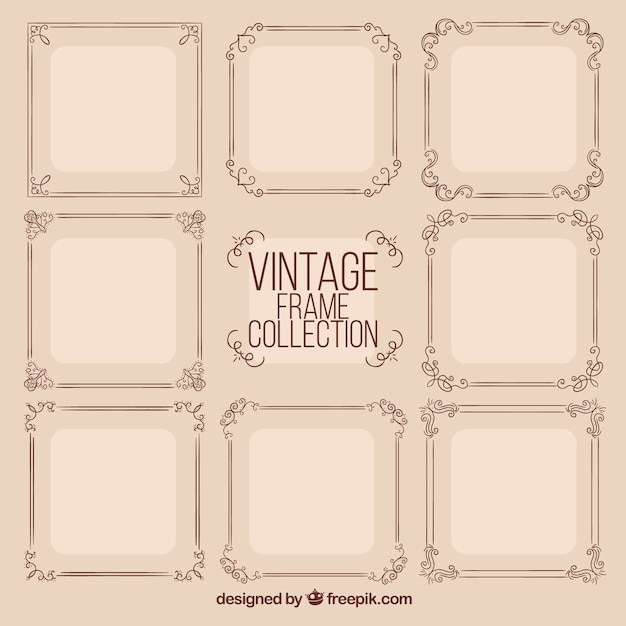 Frames collection in vintage style Free Vector