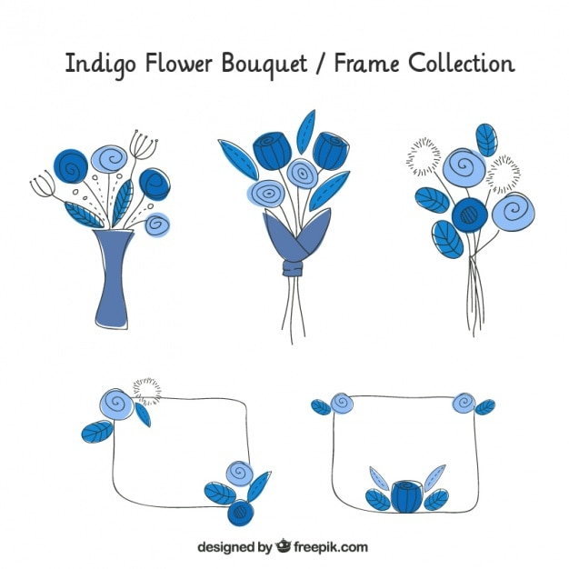 Frames and hand-drawn bouquets Free Vector