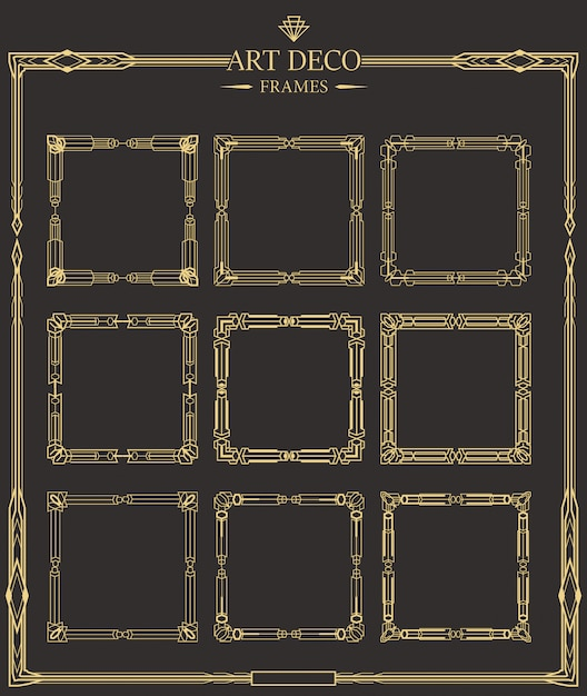 Frames set of art deco gold calligraphic page dividers. Premium Vector