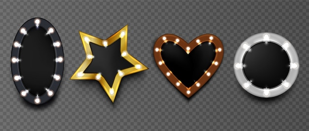 Frames with light bulbs on black board isolated. round, star and heart shape makeup mirro Free Vector