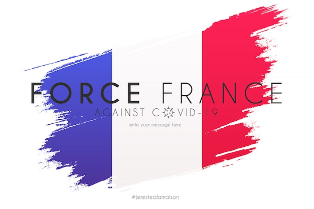 サポートメッセージ付きの水彩スプラッシュでフランスの旗 無料ベクター