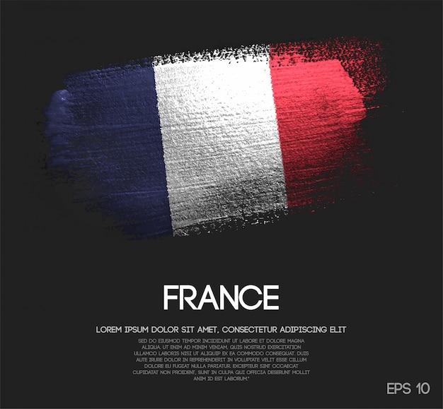 France flag made of glitter sparkle brush paint vector Premium Vector