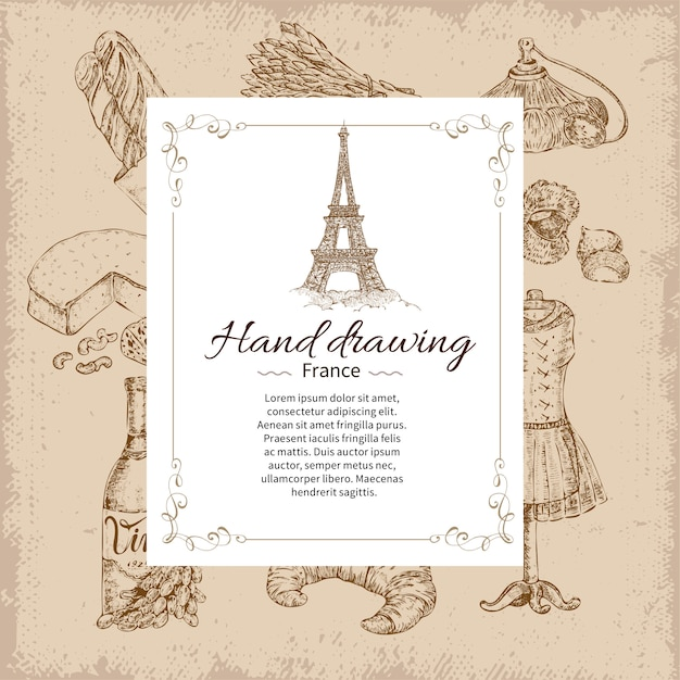 France hand drawing Free Vector