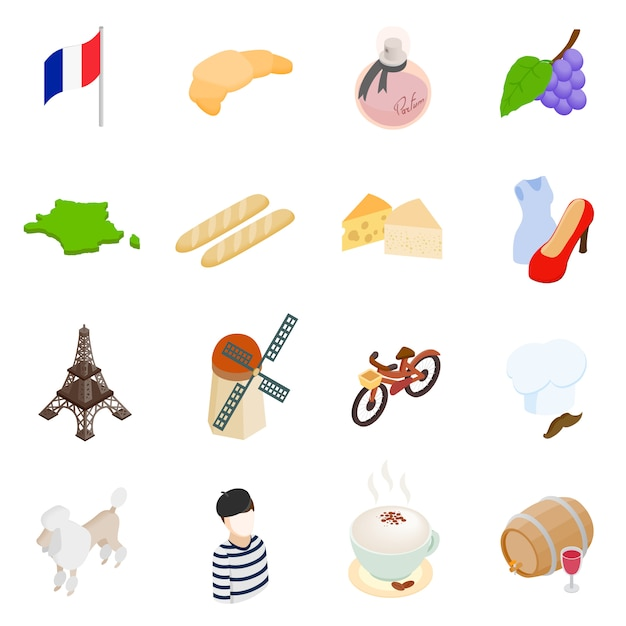 France isometric 3d icons set isolated on white background Premium Vector