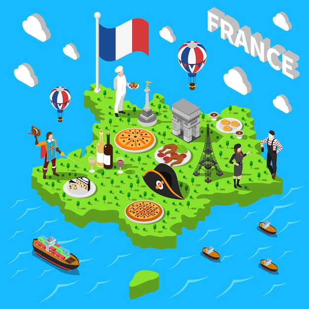 France isometric sightseeing map for tourists Free Vector