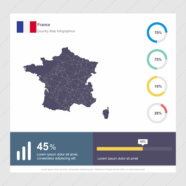 France Map Flag.France Map Flag Infographics Template Vector Free Download