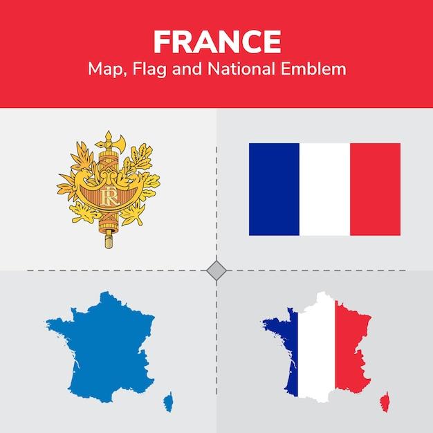 France Map Flag.France Map Flag And National Emblem Vector Premium Download