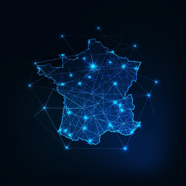 France map outline with stars and lines abstract framework. Premium Vector