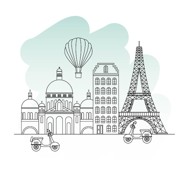 France paris architecture Premium Vector