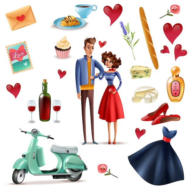 Freepik France And Paris Cartoon Set Vector For Free